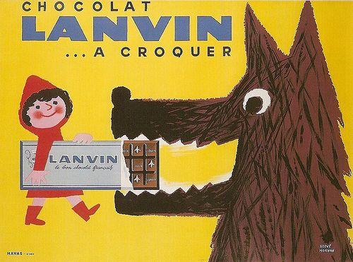 Chocolat Lanvin Ad/Poster, circa 1950s by Hervé Morvan (1917–1980)