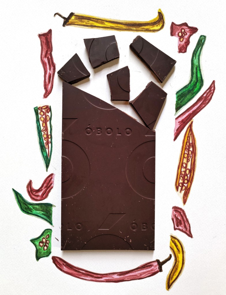 Óbolo Merken Smoked Chili 65% Dark Chocolate Bar, illustrations (c) time cupsoul